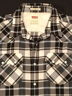 Men's Levis Plaid Western Pearlized Snap Button Shirt Large | eBay