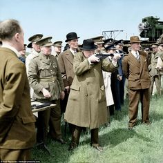 Winston Churchill at the Royal Artillery experimental station at Shoeburyness in Essex 13 June 1941 worldwartwo.filminspector.com