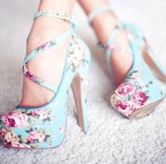 Pale blue with pink flower pumps. Just lovely!