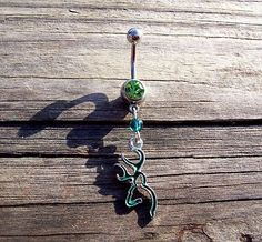 Browning Deer Head Green Belly Ring Body Jewelry Navel Ring 14ga