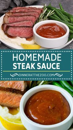 This recipe for homemade steak sauce is a blend of flavorings that takes just 5 minutes to put together, and pairs perfectly with any cut of beef. Steak sauce takes an ordinary steak and elevates it into a gourmet meal! Side Dish Recipes, Lunch Recipes, Gourmet Recipes, Dinner Recipes, Cooking Recipes, Healthy Recipes, Vegetarian Recipes, Healthy Food, Savory Sauce Recipe