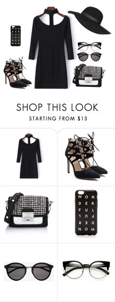 """""""Black Elegant outfit for Spring"""" by chxrmarie ❤ liked on Polyvore featuring WithChic, Karl Lagerfeld, J.Crew, Yves Saint Laurent, ZeroUV and Topshop"""