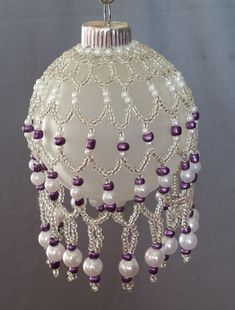 Glass Beaded Ornament Cover, Silver Seed Beads, Purple Seed Beads, Pearl Molded Beads, Swag and Drop Beaded Christmas Decorations, Crochet Christmas Ornaments, Christmas Jewelry, Christmas Balls, Holiday Ornaments, Christmas Earrings, Garden Decorations, Felt Christmas, Homemade Christmas