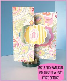Obsessed with Scrapbooking: Make a Swing Card Using the Close to My Heart Cricut Artiste Cartridge! With measurements Flip Cards, Folded Cards, Swing Card, Artist Project, Cricut Cards, Paper Hearts, Heart Cards, Close To My Heart, Creative Cards