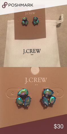 J. Crew Factory Crystal Trio Earrings The color is purple iridescent. They really change color in the light! Gorgeous, unique earrings. J. Crew Factory Jewelry Earrings