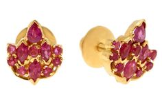 A Pair of Fancy Ear Tops crafted in Gold set with Ruby