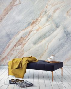This marble wallpaper design will elevate your home with gorgeous texture and subtle colour. Accessorise with contrastingly dark colours to accentuate this stunning feature wall. Marble Interior, Marble Wall, Wall Finishes, Interior Design Inspiration, Design Ideas, Decoration, Home And Living, Interior And Exterior, Wall Decor