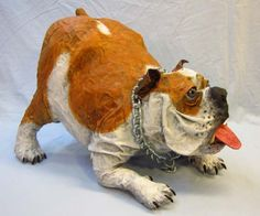 Bulldog with Treat | Gourmet Paper Mache Blog  Video of same https://www.youtube.com/watch?v=Zqke8WujCWY&list=UUdccmgAQkJrUDfmtRHVbsfw