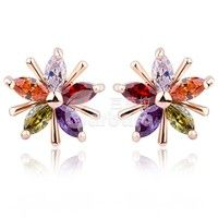 Barbara丨18k Champagne Gold Star Stud Earrings with Colorful Zircon Crystal Women Wedding Jewelry