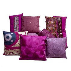 Explosion of Radiant Orchid color pillows   #vintagemaya #pantone #color of the year #radiant orchid #home décor #decorative pillows