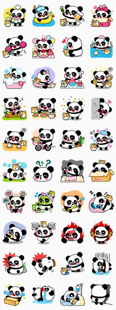 Adorable best buddies, Pan and Ham are here to play! If you love pandas and sweets, these stickers are perfect for you! Enjoy their precious moments. Panda Kawaii, Cute Panda, Kawaii Art, Kawaii Anime, Kawaii Stickers, Cute Stickers, Kawaii Drawings, Cute Drawings, Panda Lindo