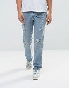 Hollister Jeans Slim Fit Destroyed Light Wash - Blue