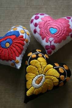 Matyo style embroidery from Hungary handmade pincushions, heart