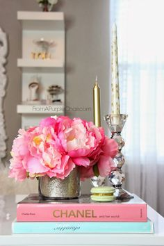 Inspiration---->Take glitter paper place in clear glass jar, fill with artificial flowers.