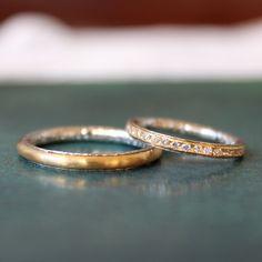 リングの内側に槌目を施したプラチナとゴールドのマリッジリング(オーダーメイド/手作り)  [ハーフエタニティ,ダイヤモンド,diamond,gold,Pt900,結婚指輪,marriage,wedding,ring,]