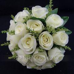 Bryllupsblomster - $16.69 - Skjønn/Hvit Rund Satin Brude Buketter (123031417) http://jjshouse.com/no/Skjonn-Hvit-Rund-Satin-Brude-Buketter-123031417-g31417
