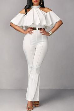 Sexy Ruffled Pure Colour Off-Shoulder jumpsuit outfit casual jumpsuit outfit casual summer jumpsuit outfit jumpsuits for women jumpsuits casual jumpsuits summer jumpsuits boho jumpsuits work Jumpsuit Dressy, Jumpsuit Outfit, Elegant Jumpsuit, All White Jumpsuit, Summer Jumpsuit, Silk Jumpsuit, Backless Jumpsuit, Floral Jumpsuit, Casual Outfits