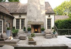 Exterior Design: Outdoor Fireplaces In Farmhouse Patio With Beige Exterior Also Beige Siding And Brown Outdoor Cushions Also Concrete Fireplace And Outdoor Lighting Plus Outdoor Potted Plant And Stone Exterior Also Wood Patio Furniture Outdoor Areas, Outdoor Rooms, Outdoor Living, Outdoor Decor, Rustic Outdoor, Outdoor Pallet, Outdoor Photos, Outdoor Parties, Outdoor Lounge