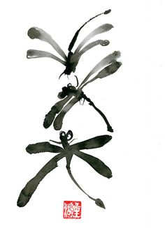 Dragonfly Zen fine art zen sumi ink zen painting  Dragonfly, zen illustration, zen decor by ZenBrush