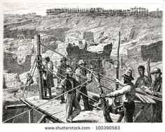 """The diamond diggings at Kimberley-Kopje in drawn by J. Vanione in Emil Holub's """"Seven Years in South Africa"""", published in Vienna, 1881 Diamond City, Family Album, Vienna, South Africa, Photo Editing, Royalty Free Stock Photos, Draw, Illustration, Pictures"""