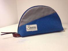 gray and blue mens toiletry bag dopp kit by SaverneHandmade