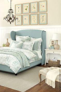 """Купить Кровать """"Прованс"""" ( с мягким изголовьем) - бирюзовый, французский стиль, прованский стиль"""