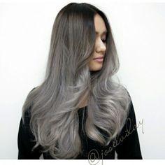 beautiful gray ombre long hair