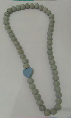 Grey with blue heart necklace