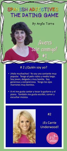 Students love this game and it's great comprehensible input for the Spanish adjectives. The ending is always so hilarious I can't get back to teaching I am laughing so hard. After teaching the adjectives, students choose whom they want to date based on six different descriptions. This activity cements the vocabulary of physical descriptions into the minds of the students. It improves students' reading, writing and listening skills as they write and hear descriptions of famous people.