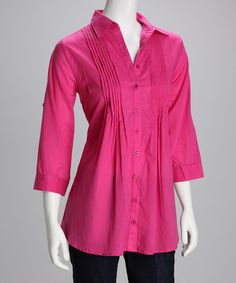 Take a look at this Fuchsia Button-Up Tunic by Trixx Concept on #zulily today!