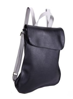 Black & silver Faux leather Backpack, Handmade backpack, Laptop bag, School Bag, Bike Bag, Women Backpack, Men Backpack, ready to ship. $99.00, via Etsy.