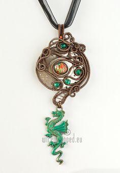 OOAK Fantasy teal silver and orange glass dragon charm por ukapala