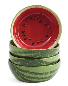 "Rae Dunn ""Watermelon"" set of 4 Bowls NEW JUST OUT!!!!!!!!!!!!!! #RaeDunn"