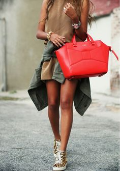 Brown shift dress, cheetah print sneakers, and a red handbag   @andwhatelse