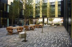Good use of linear pavers, but the strong sense of direction and motion may explain why no one is sitting here...