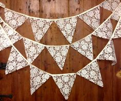 Traditional lace wedding bunting banner in ivory or white 29 flags attached side by side to 17 ft long pure cotton tape venue decoration on Etsy, Bunting Garland, Bunting Banner, Buntings, Bunting Ideas, Banners, Doily Bunting, Pink Bunting, Vintage Bunting, Wedding Bunting