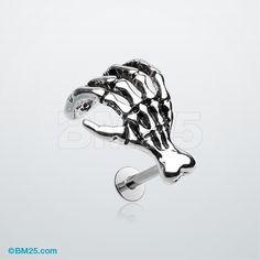 The Zombie Skeletal Hand Steel Labret