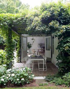 Amagansett house with patio doors on garden room Outdoor Rooms, Outdoor Gardens, Outdoor Decor, Indoor Outdoor, Outdoor Tile For Patio, Outdoor Living Spaces, Outdoor Retreat, Grey Gardens, Backyard Retreat