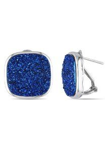 Sterling Silver Blue Color Druzy Stud Earrings Amour. $89.00. Save 50%!