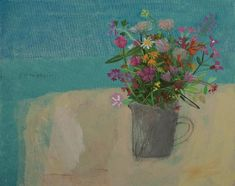 Elaine Pamphilon  let me tell you about this morning, collecting cliff flowers where the road from marizion meets the mediterranean sea  mixed media on canvas  40 x 50 cm