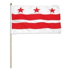 Washington DC Flag 12 x 18 inch by US Flag Store. $2.20. Washington DC Flag. A Quality Printed Flag with Sewn Edges. Mounted on a 24 Inch Wood Stick with Spear Tip. Low Cost Shipping Available. Imported. High quality Washington DC Flag 12 x 18 inch, mounted on a 24 inch wooden stick. This state flag is made from polyester and printed in bright colors. The flag is attached to the stick with a sleeve and not staples. Each flag is individually sewn around the edge...