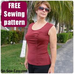 Gathered front top pattern - free sewing pattern
