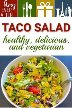 Looking for a better alternative to a taco salad, without that fattening shell? Try this healthy taco salad recipe! It's quick, easy, delicious, and vegetarian. Taco Salad Bowls, Taco Salad Recipes, Healthy Salad Recipes, Lunch Recipes, Vegetarian Recipes, Vegetarian Options, Veggie Recipes, Healthy Food, Dinner Recipes