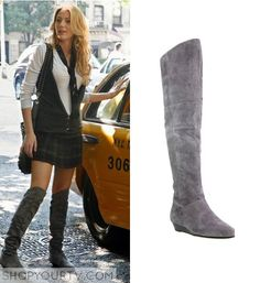 Serena van der Woodsen (Blake Lively) wears these grey suede boots in this episode of Gossip Girl. They are the Chinese Laundry 'Strate' Tall Boots. Sold Out.