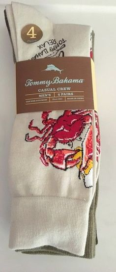 Tommy Bahama Socks 4 Pack Mens Casual Crew Beige Brown Olive Crab Logo 4pk NWT  #TommyBahama #Dresscasual