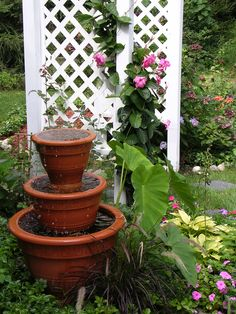 Pots for the garden made into a water feature