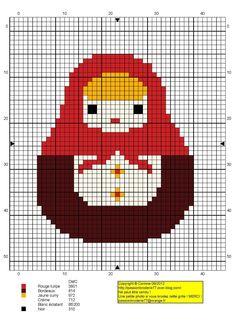 femme - woman - broderie - embroidery - matriochca -  Point de croix - Blog : http://broderiemimie44.canalblog.com/