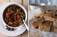 meditteranean salad with lentils and focaccia | compassionate cuisine