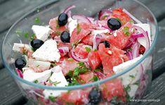 Sałatka z arbuzem i fetą wg Nigelli Lawson Nigella Lawson, Fruit Salad, Feta, Potato Salad, Vegetarian Recipes, Grilling, Food And Drink, Lunch, Cooking