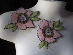2 Beaded Flower Appliques for Garments Handbags by MaryNotMartha, $3.75